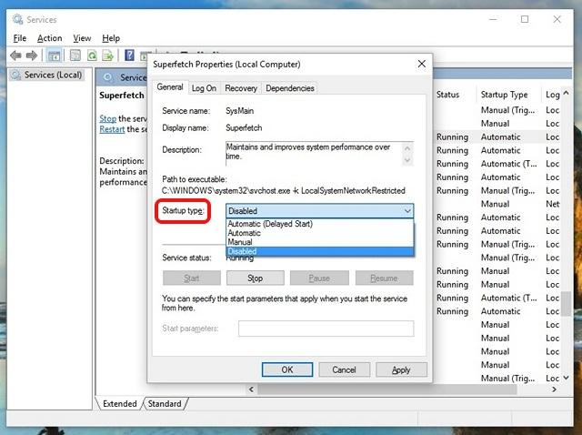 Propiedades de los servicios de Windows 10