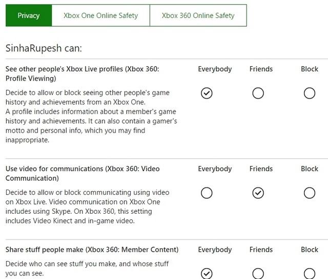 Configuración de privacidad de Xbox