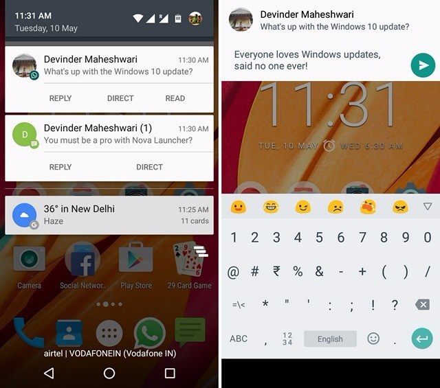 quickReply like Android N