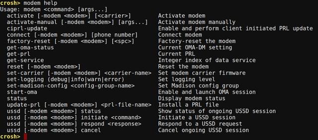Chrome OS Crosh modem help command