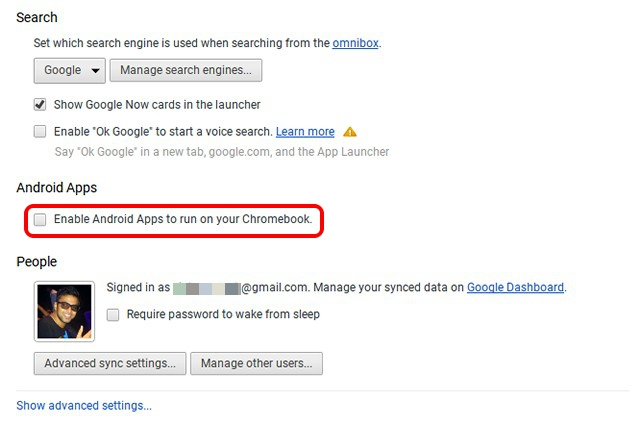 Chrome OS enable Android apps