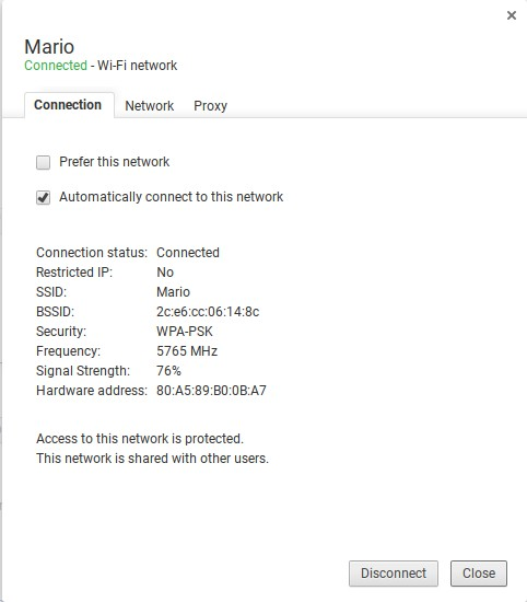 Chrome OS network info