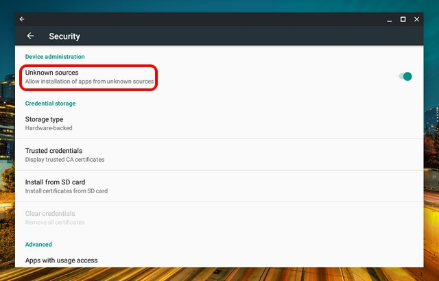 How to Install Android Apps From APK Files on Chromebook - Security - Unknown Sources