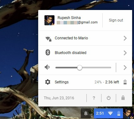 Chromebook shortcuts status area