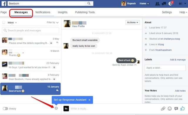 Facebook Page set up response assistant
