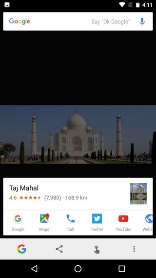 Google Now on Tap search image