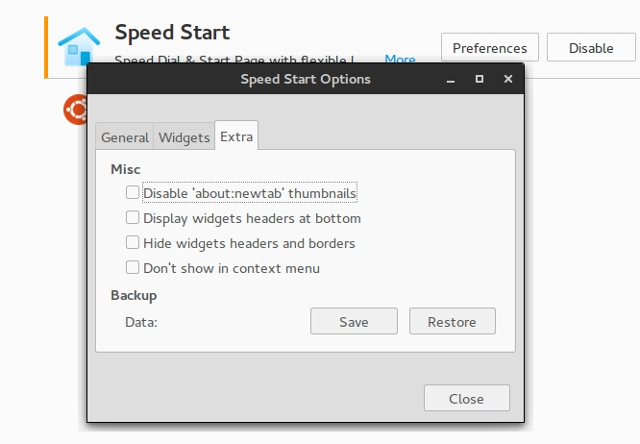Firefox Newtab Speedstart Options