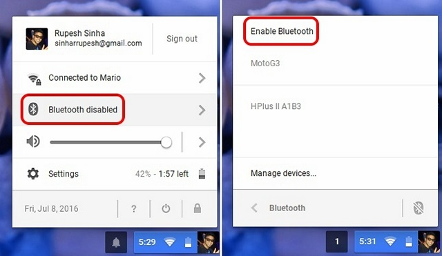 Chrome OS enable Bluetooth