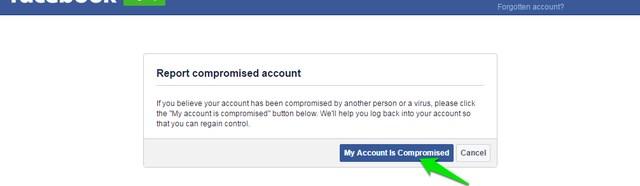 Cuenta comprometida de Facebook