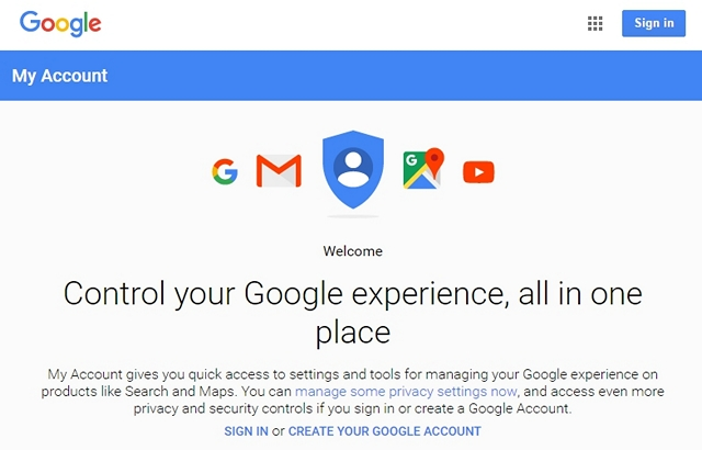 Google My Account page sign in