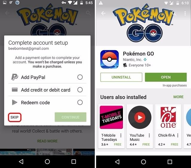 Pokemon Go instalado desde Play Store en país comprimido no admitido