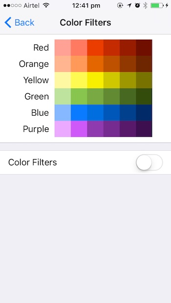 iOS 10 tricks color filters