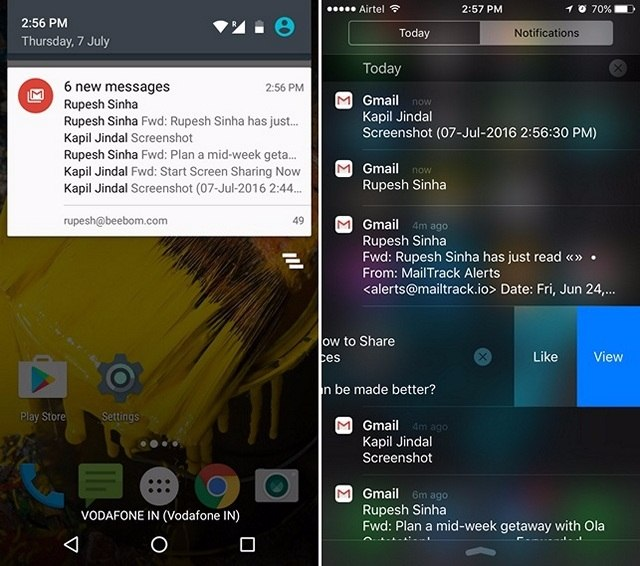 iOS notification center vs Android-compressed