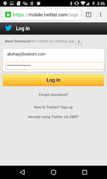 view password hidden behind asterisk launch mobile twitter
