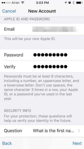 install georestricted apps on iPhone new apple id step one