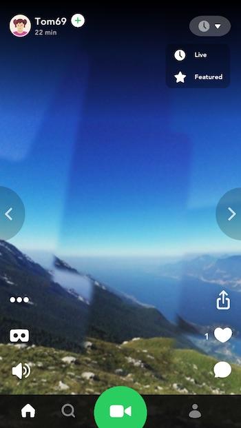 shoot 360 videos on iPhone Splash main interface