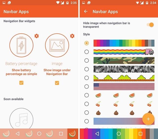 Widgets de aplicaciones Navbar
