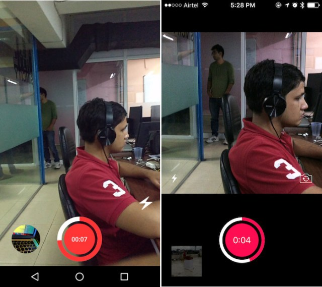 Shooting a video in Artisto on Android (Left), and iOS (Right)