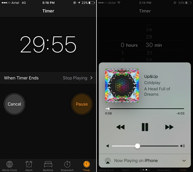 iOS start sleep timer for music