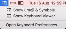 mac keyboard symbols menu bar icon