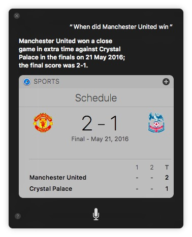 macOS Sierra tricks siri find sports results