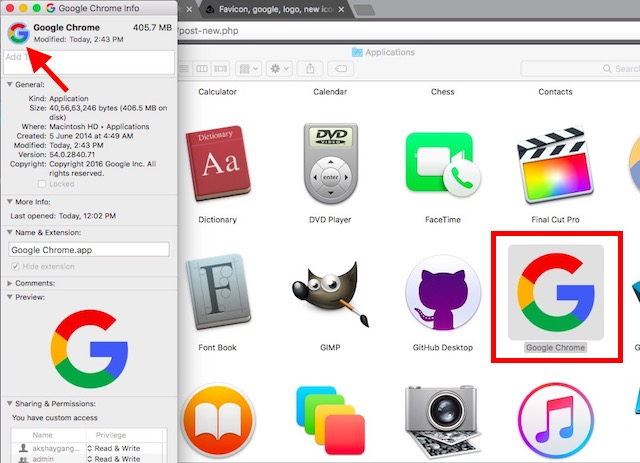 add custom app icons in macOS paste the new icon