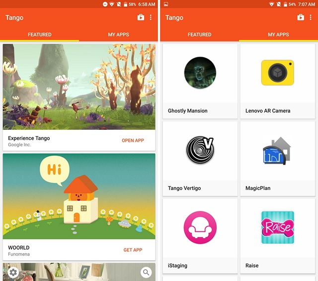 Lenovo Phab 2 Pro Google Tango App