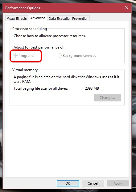 Windows 10 Advanced Performance Options