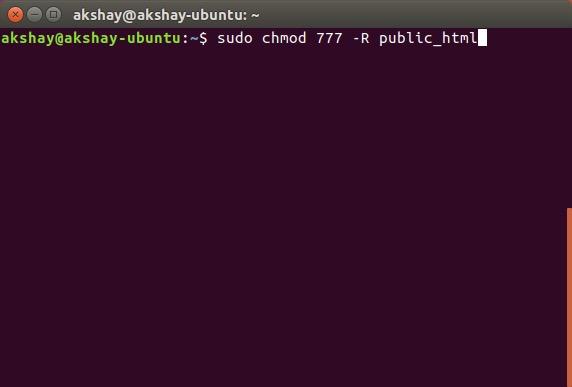 otorgar permisos de lectura y escritura a la carpeta html pública