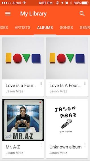 sincronización de google play music con iphone