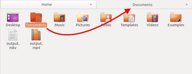 view folder contents in new tab ubuntu