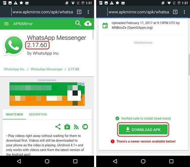 Descargar la Older WhatsApp de APK