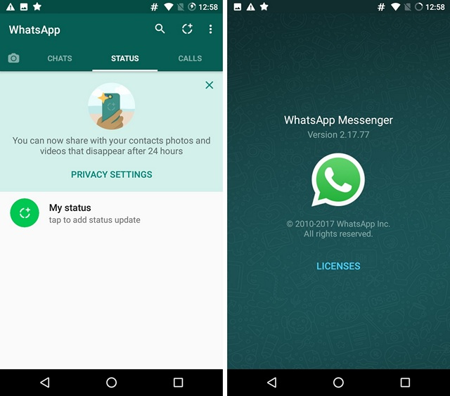 New WhatsApp Status and Version