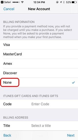 Apple ID Payment Method