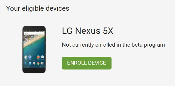 Inscribir dispositivo Android O Beta