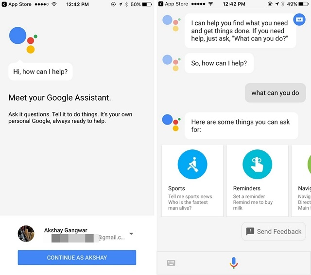 Google Assistant on iPHone India