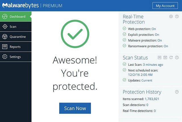 Herramienta anti ransomware Malwarebytes 3