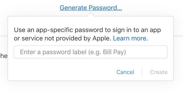 App specific password