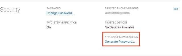 generating the app specific password