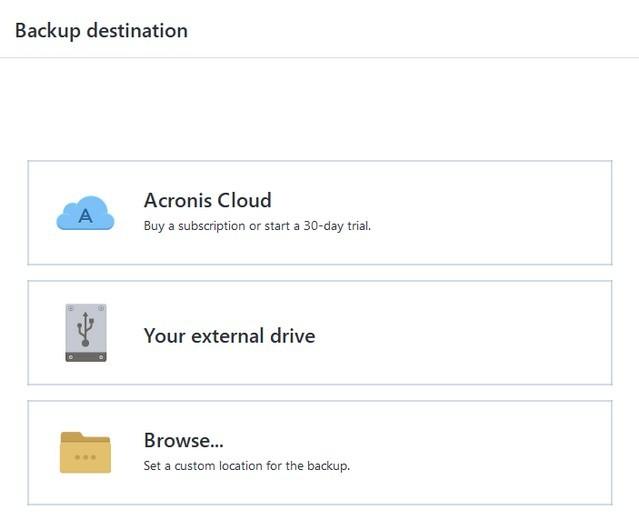Acronis Backup Destination