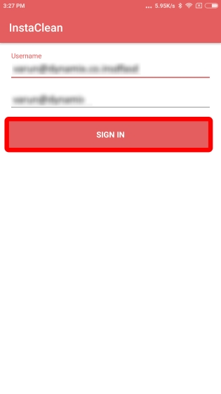 Android InstaClean Login