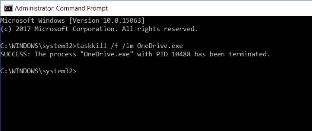 Command Prompt Terminate OneDrive
