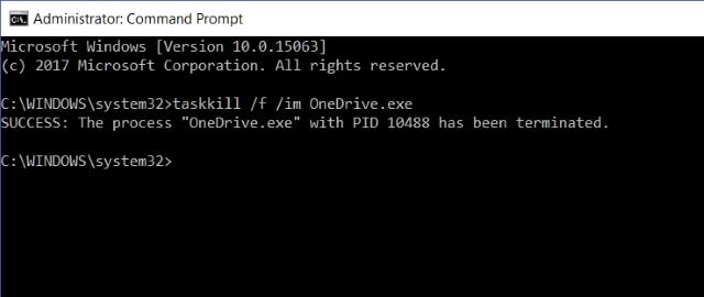 Command Prompt Terminate OneDrive