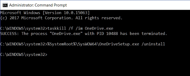 Command Prompt Uninstall OneDrive