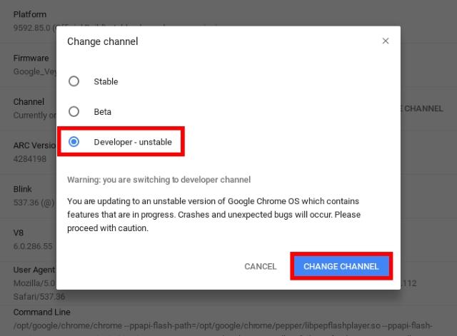 Canal de cambio de desarrollador