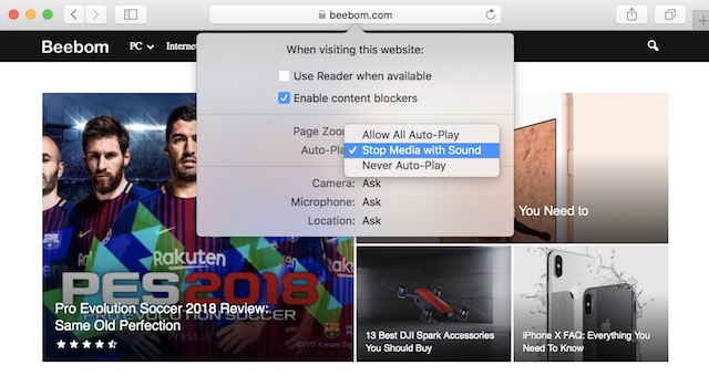 3. Enable Autoplay Video Blocking in Safari (Individual Website)