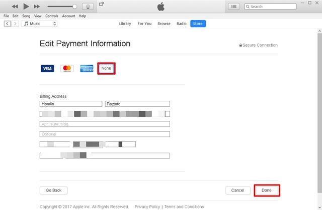 Cambiar la información de pago a Ninguno