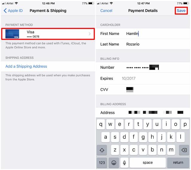 Cambio de la información de pago del ID de Apple - 2