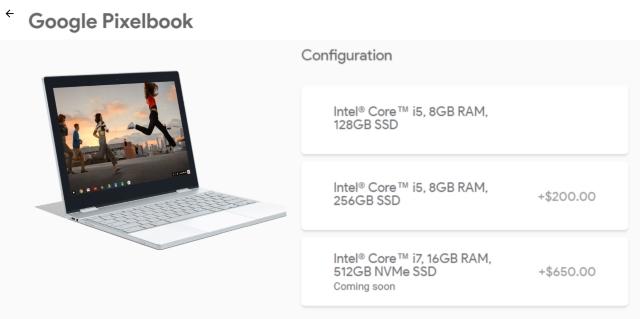 Pixelbook Storage and Processor