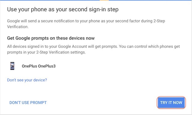 Setting Up Google Prompt For Two-Factor Authentication - step 4